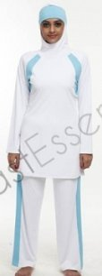 white farhat Islamic swimsuit