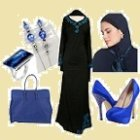 blue abaya embroidery set