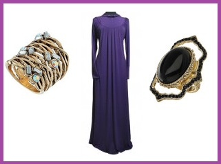 abaya with fashion rings