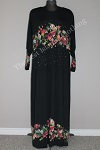 abaya floral diamente black