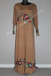 abaya floral diamente brown