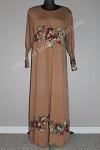 abaya floral diamente brown