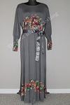 abaya floral diamente grey