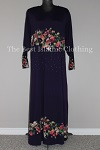 abaya floral diamente purple