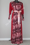abaya red printed