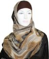 brown wave print square hijab