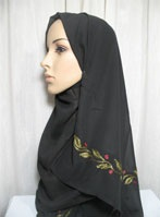 floral trim black hijab