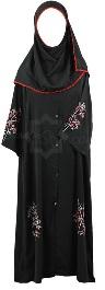 red&white embroidered girl abaya
