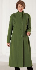 green wool blended long coat