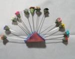 beautiful flower bud hijab pin set