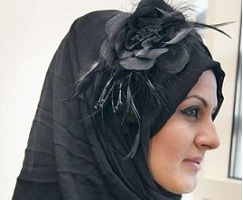 hijab black flower accessories