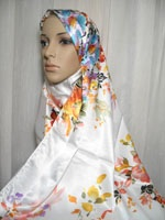 white floral shawl hijab