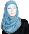 blue random print square hijab