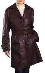 crocodile embossed leather trench coat