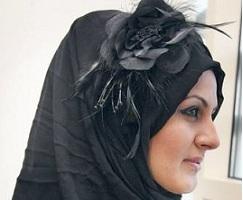 hijab black flower accessories