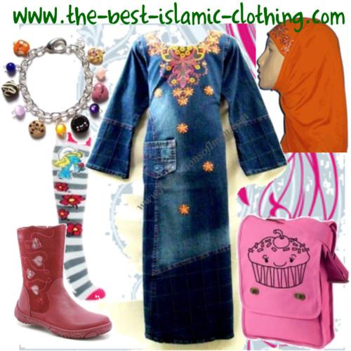 Girl Denim Abaya Set